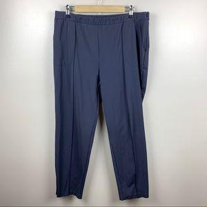 St.John Trouser Pants Nylon Stretch Ankle Zip Side Zip Work Career Navy Blue 16